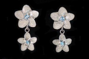 Blue Topaz small dangle stud earring